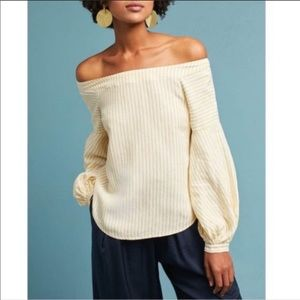 Anthro Maeve Yellow Striped Off Shoulder Top